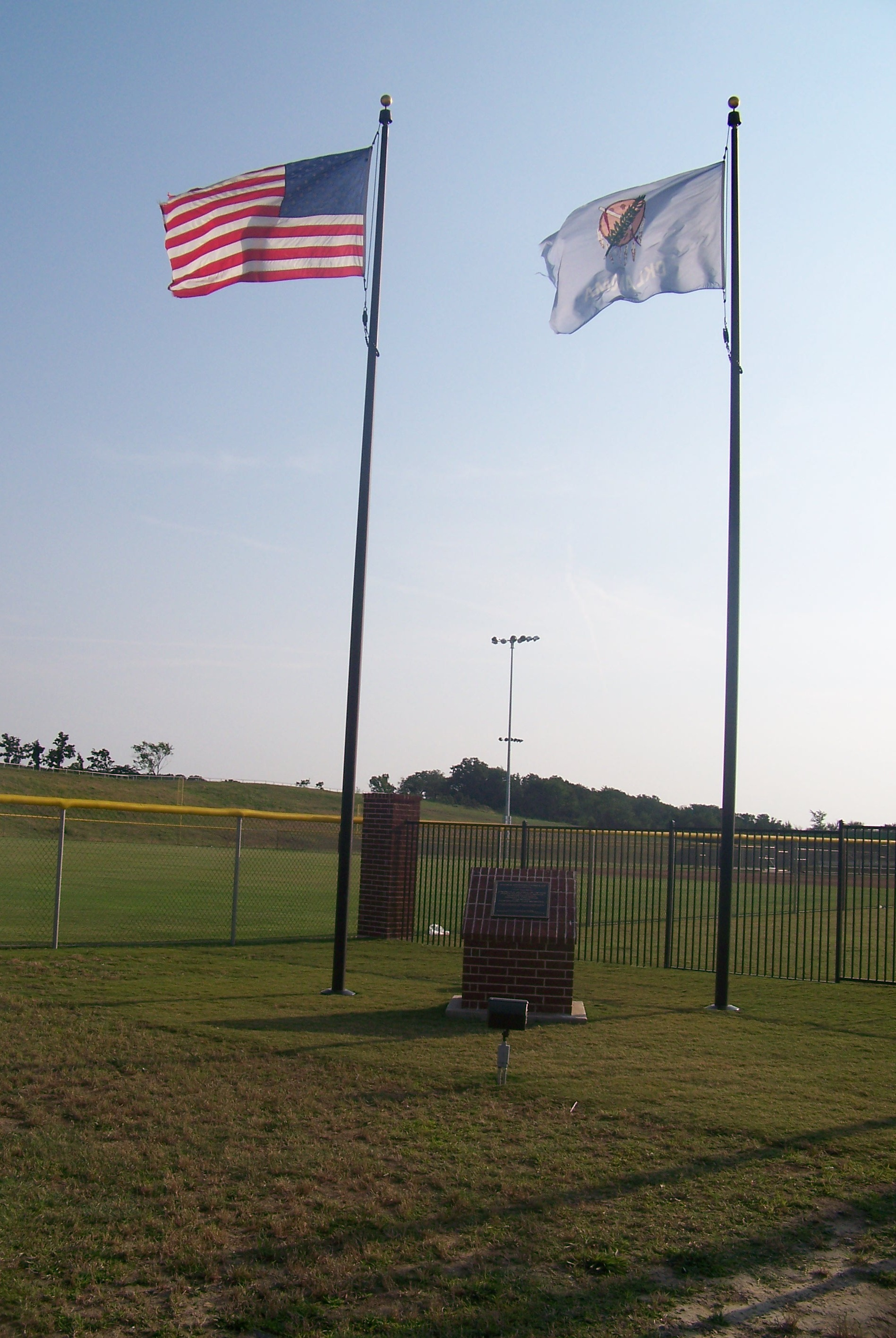 Flags and monument at the Atoka Sports Complex